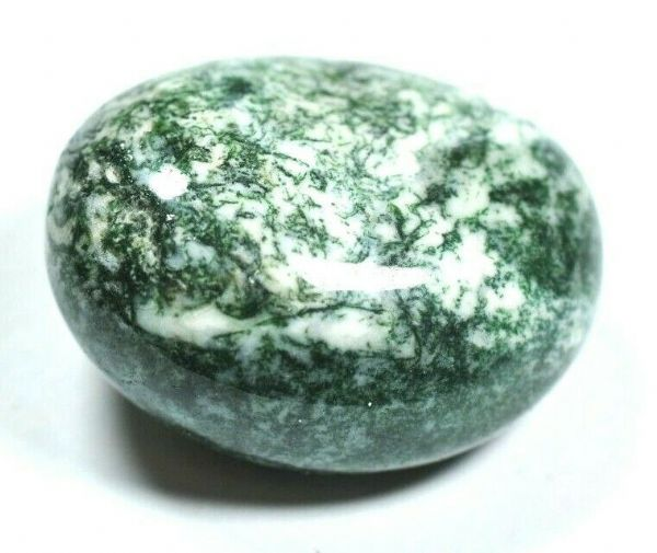 LARGE POLISHED GREEN MOSS AGATE PEBBLE - Abundance, nature - 3.4 x 2.7 cm 27 gm